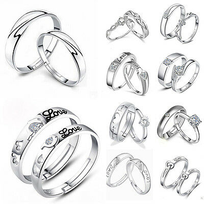 1pair Forever love Crystal Silver Couple Rings Wedding Band His&Her Promise Ring