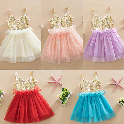 Kids Baby Girl Dress Sequins Tulle Tutu Dress Party Gown Formal Dresses US Stock