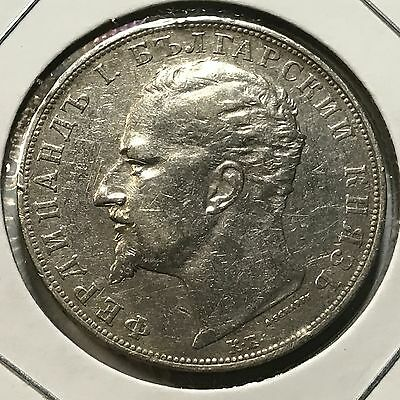 1894 Bulgaria 5 Leva Silver Crown Coin