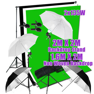 1350W Photo Umbrella Lighting Black White Green Screen Backdrops Light Stand Kit