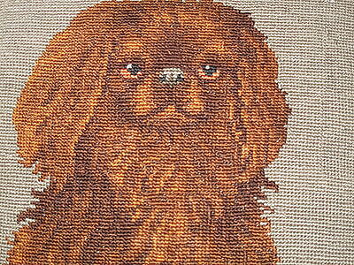 Sweet Antique Woolwork Needlepoint Tapestry Pillow Of Pekingese Puppy Dog