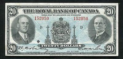 1935 $20 Twenty Dollars The Royal Bank Of Canada Extremely Fine