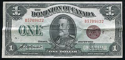 "DC-25i 1923 $1 ONE DOLLAR DOMINION OF CANADA ""BRONZE SEAL"" VERY FINE+"