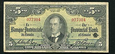 1936 $5 Five Dollars The Provincial Bank Of Canada Banknote