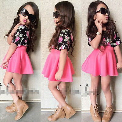 New 2pcs Kids Baby Girl Clothes Floral T-shirt Tops +Skirts Outfits Set US Stock