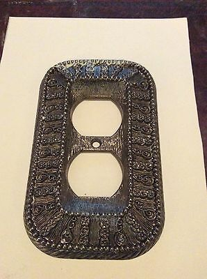 Vintage Outlet Cover Ornate Brass Made USA 1960s