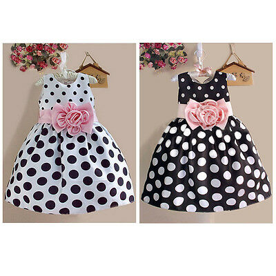 Fancy Baby Kids Girls Dress Party Polka Dot Flower Gown Formal Dresses US Stock