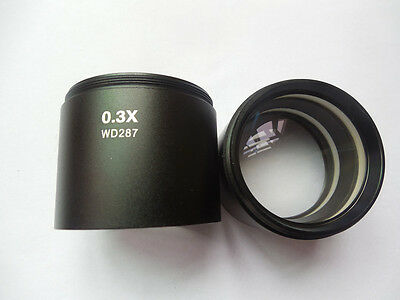 """WD287 0.3x Auxiliary Lens Barlow Objective Lens f Stereo Microscope 1-7/8"""" 48mm"""