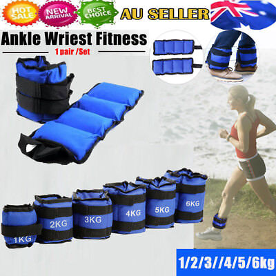1PAIR ADJUSTABLE ANKLE WEIGHTS GYM EQUIPMENT WRIST FITNESS 1kg 2kg 3kg 4/5/6kg G