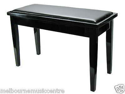 MMC PIANO STOOL Wooden Bench Style *w/Black Vinyl Padded Seat & Storage* NEW!