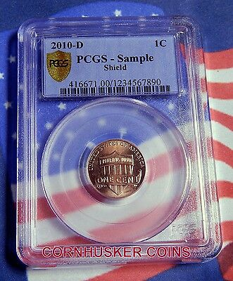 """2010-D Lincoln Shield Cent Pcgs Sample Slab - """"brilliant Uncirculated"""""""
