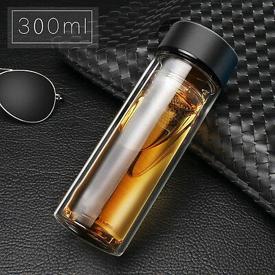 Glass Stainless Steel Double Layers Vacuum Thermos Coffee Travel Mug Drink Cup D