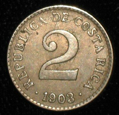 1903, 2 Centimos from Costa Rica.  No Reserve!