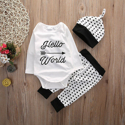 Cotton Newborn Infant Baby Boys Girls Outfits Romper Pants Hat 3PCS Clothes Set