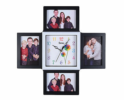 Arpan Photo Time 4 x 6x4'' Multi-Aperture Photo/Picture Frame and Clock - Black
