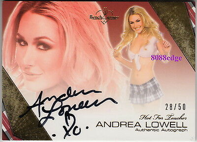 2011 Benchwarmer Hot For Teacher Auto #23:andrea Lowell #28/50 Autograph Playboy