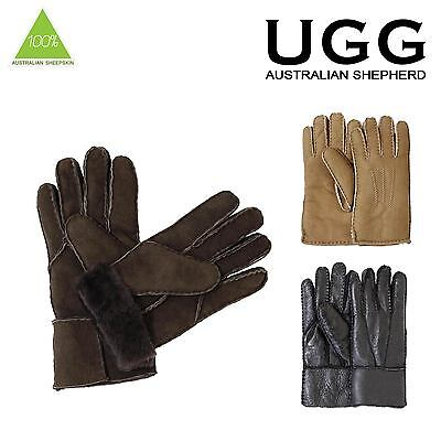 Ugg Classic Sheepskin Shearling Seamed Fur Gloves S M L XL Black Choc Chestnut
