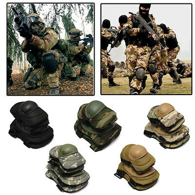 Military Knee Elbow Protector Tactical Combat Protective Pads Set Gear Sports HK
