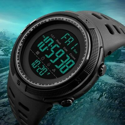 New Men LED Digital Alarm Sport Watch Silicone Military Army Quartz Wristwatch