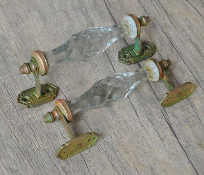 Vintage BRASS CLEAR Cut Glass Church Art Deco Victorian Door Handle pair 7.2''
