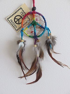 HANG IN CAR LEATHER RAINBOW CIRCLE PEACE DREAM CATCHER - APPROX LENGTH 18cm