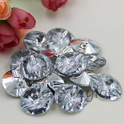50pcs Round Crystal Clear Acrylic Button Clothing Sewing Crafts DIY Decoration