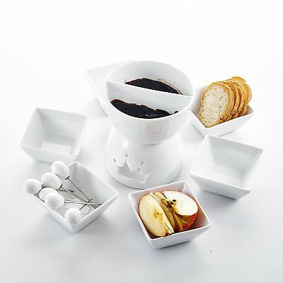 Porcelain Tealight Two-layer Chocolate Fondue Pot Set w/ Dipping Bowls Forks