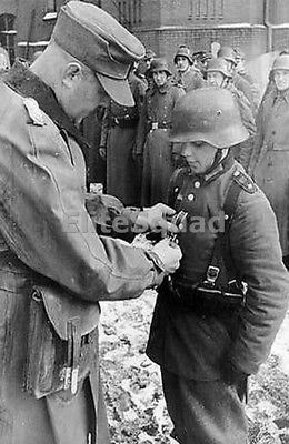 WW2 Photo Young German Soldier Receiving a Medal WWII 213