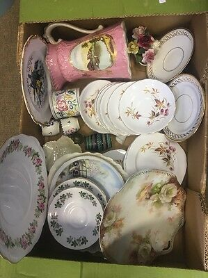 Large box of pretty vintage china damage cracks for crafts or mosaic work
