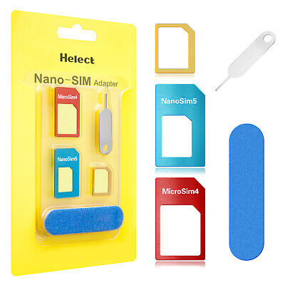 Helect 5-in-1 SIM Card Adapter Kit Nano Micro SIM Converter for iPhone Samsung