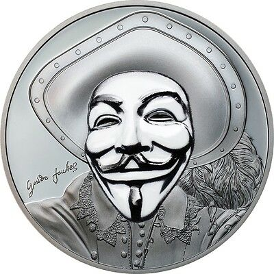 2017 Cook Islands $ 5 Dollar Anonymous Guy Fawkes Mask II Proof 1oz Silver Coin