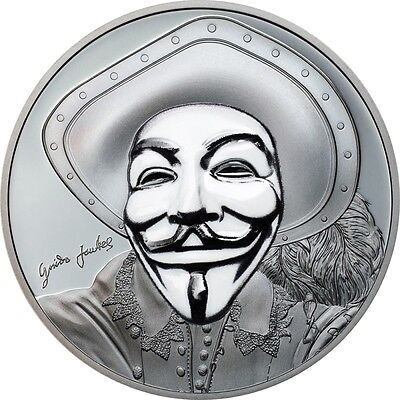 Guy Fawkes Mask II 1oz Pure Silver Proof Coin Anonymous $5 Cook Islands 2017
