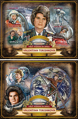 Maldives Valentina Tereshkova Soviet Space Exploration Russia MNH stamp set