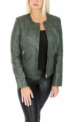 7e6721336 REAL LEATHER COLLARLESS Jacket For Women Tailored Cut Slim Fit Black ...