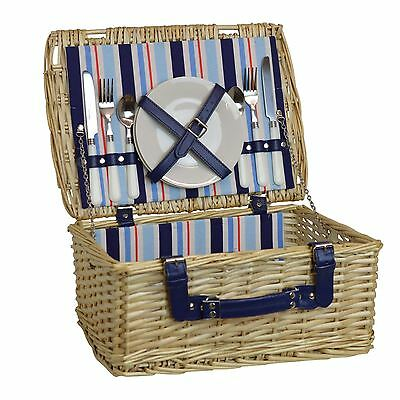 2 Person Picnic Hamper Set. Wicker Willow Outdoor Basket