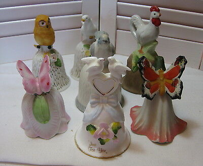 Lot of 7 Assorted Vintage Porcelain Collectible Bells Birds and Butterflies