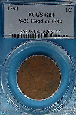1794 Liberty Cap Large Cent PCGS G04- S-21, Head of 1794, Nice Lookin Example