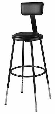 """National Public Seating Height Adjustable Stool with Adjustable Backrest 24"""""""