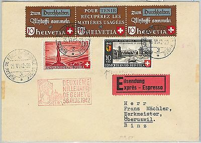 64087 - SWITZERLAND - POSTAL HISTORY: Scott # C117-C118 on FDC COVER  1942