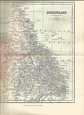Antique Maps Paper Queensland  Pre 1914  100 Years Old Political