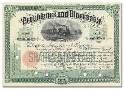Providence and Worcester Railroad Company Stock Certificate