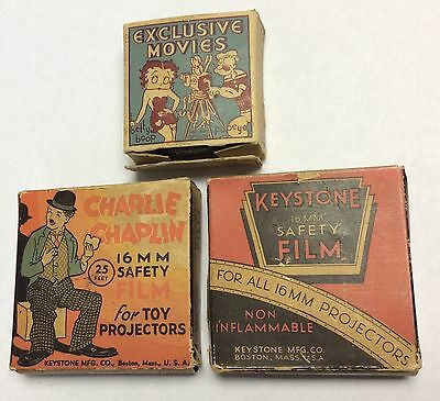Lot of (3) Vintage 16mm Films In Boxes Charlie Chaplin Popeye Bobby Bumps