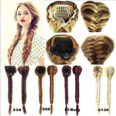Long Fishbone Comb Clip In Drawstring Hair Piece Hair Extension Braid Ponytail