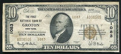 1929 $10 Type Ii The First Nb Of Groton, Ny National Currency Ch. #1083