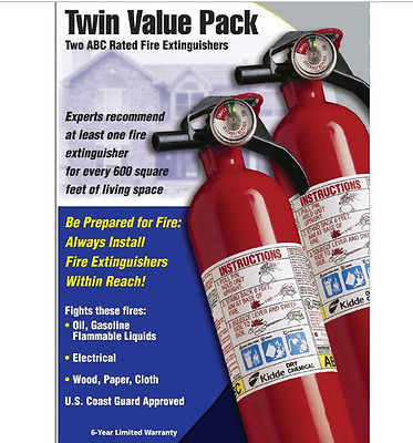 Kidde ABC 1-A:10 B:C Recreational Fire Extinguisher Home Kitchen Car Boat 2 Pack