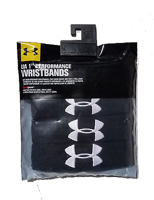 """Under Armour 1"""" Performance Wristbands (4 Pack), Black/White, OSFA"""