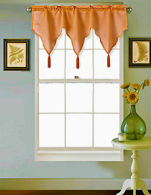1 SARAH Orange Silky Ascot Small Window Rod Pocket Swag Valance Decor Tassels