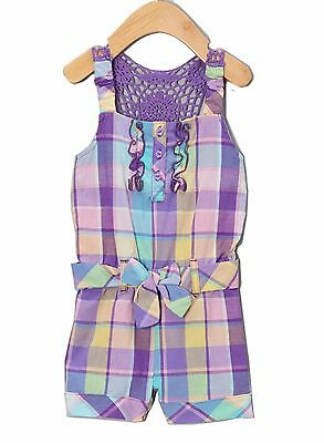 Girls Romper Outfit Set Jumpsuit Shorts Overall Cotton Purple Plaid nwt 5 6 6x