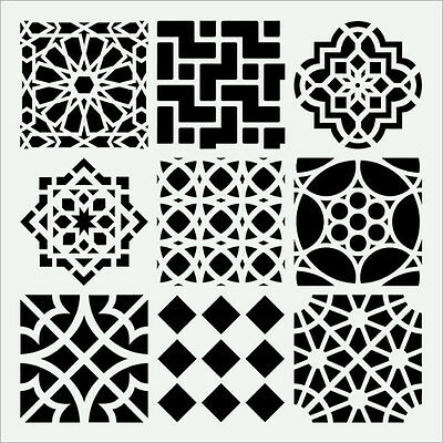 "Moroccan Tile Stencil 9 Assorted Tiles Template Stencils New Art 6"" X 6"" By Tcw"