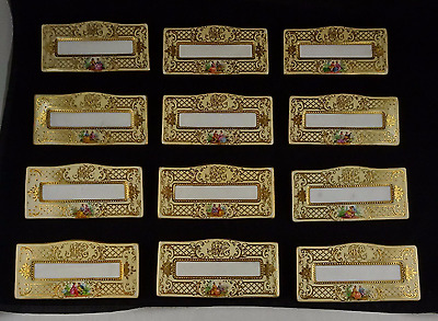 12 Ornate Ambrosius Lamm Dresden Courting Scene Place Card Holders - Monogrammed